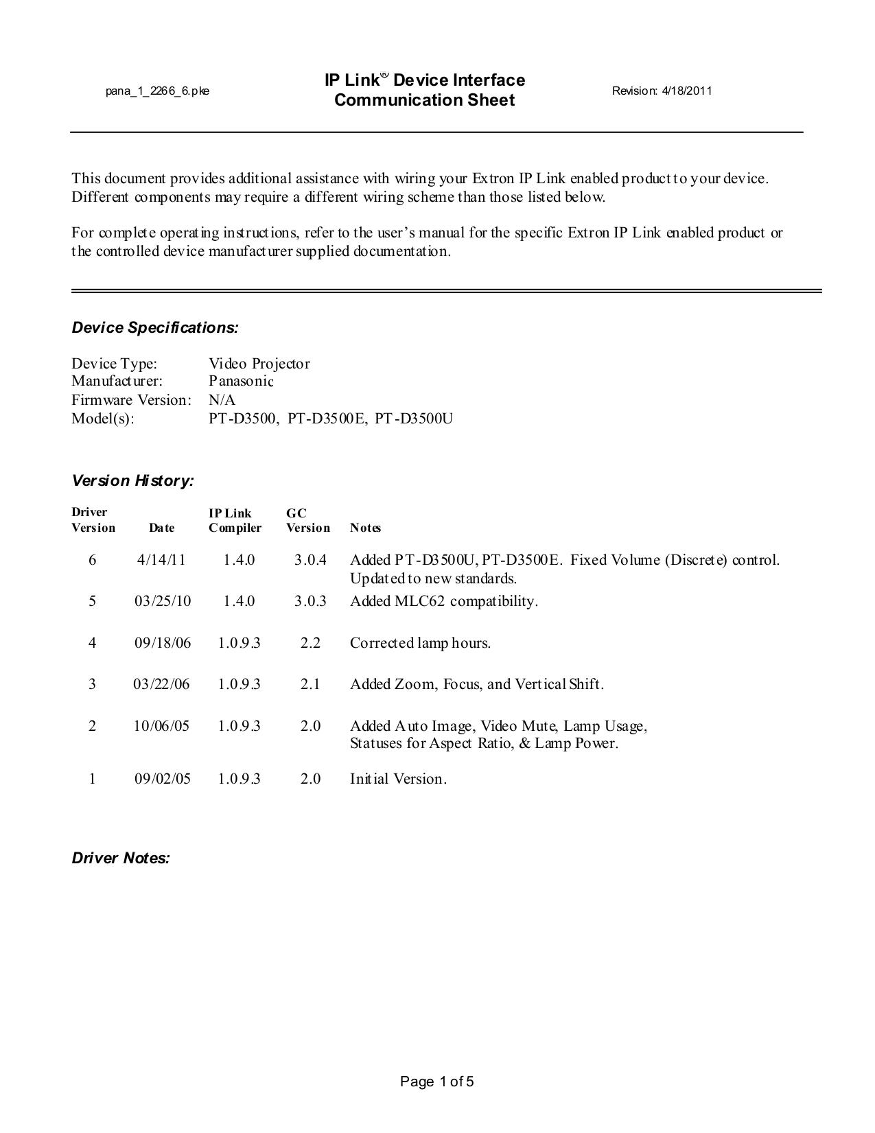 pdf for Panasonic Projector PT-D3500U manual