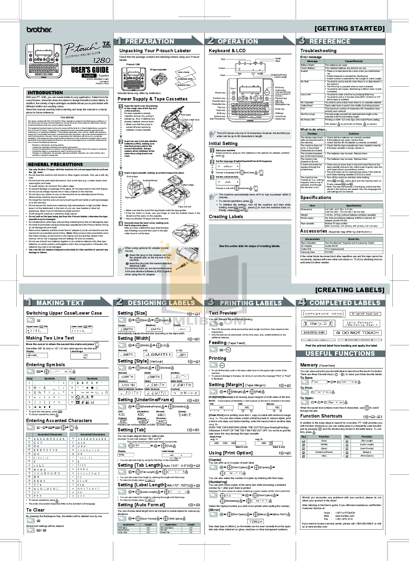 pdf for Brother Printer PT-1400 manual