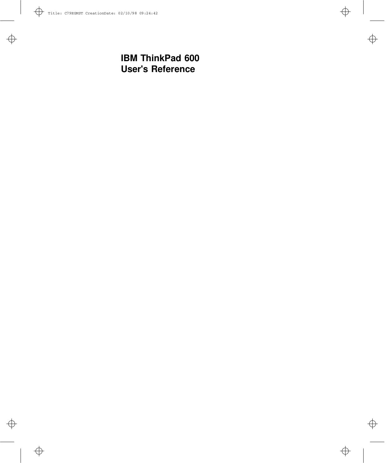 pdf for IBM Laptop ThinkPad 600E manual