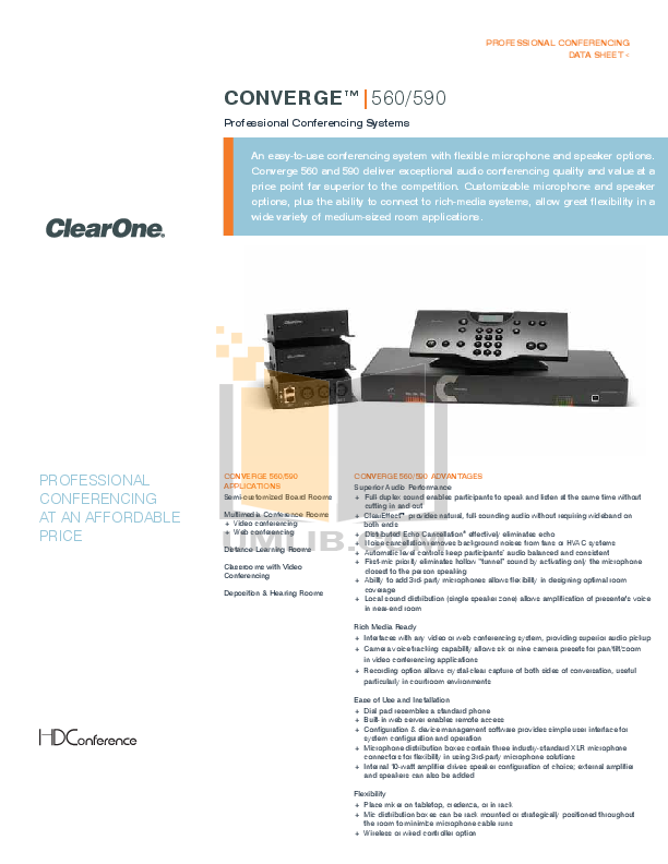 pdf for ClearOne Telephone Converge 590 manual