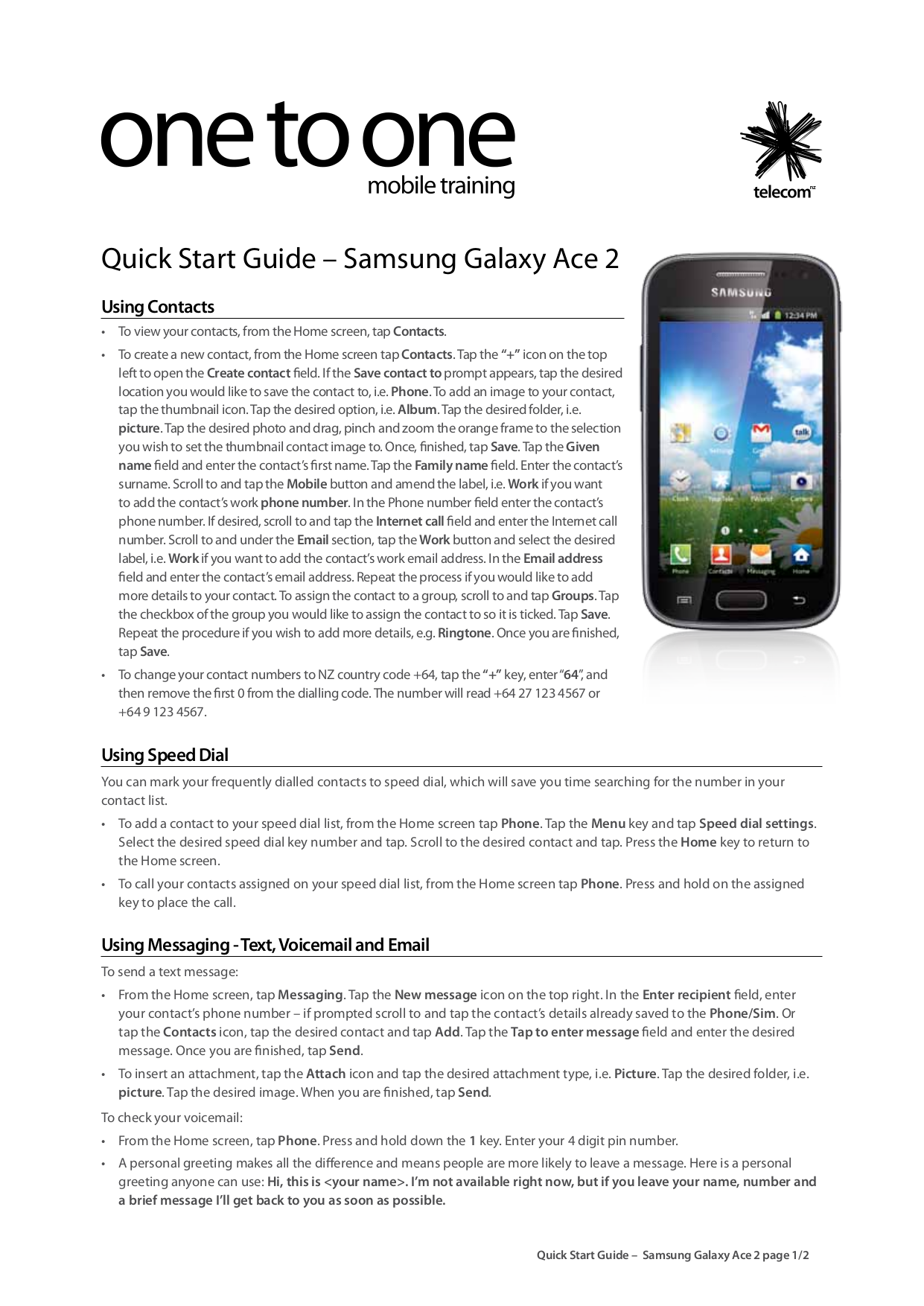 pdf for Samsung Cell Phone Galaxy Ace manual