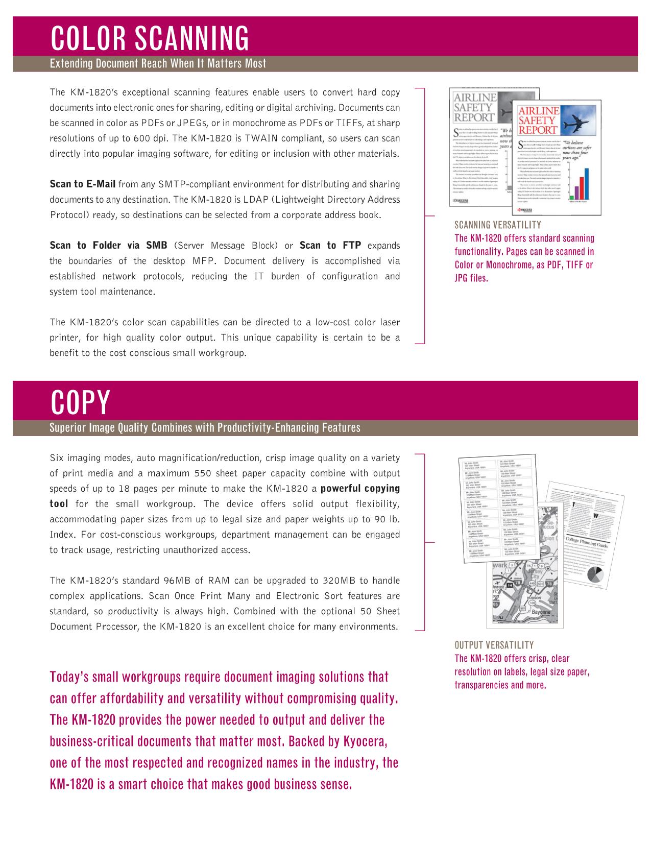 PDF manual for Kyocera Multifunction Printer KM-1820