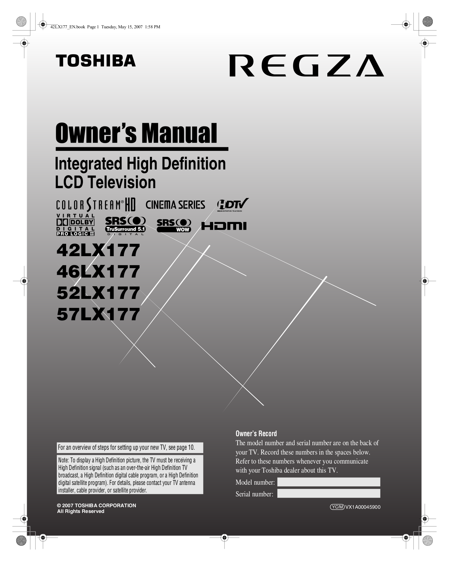 For Toshiba Regza 52lx177 Tv Manual