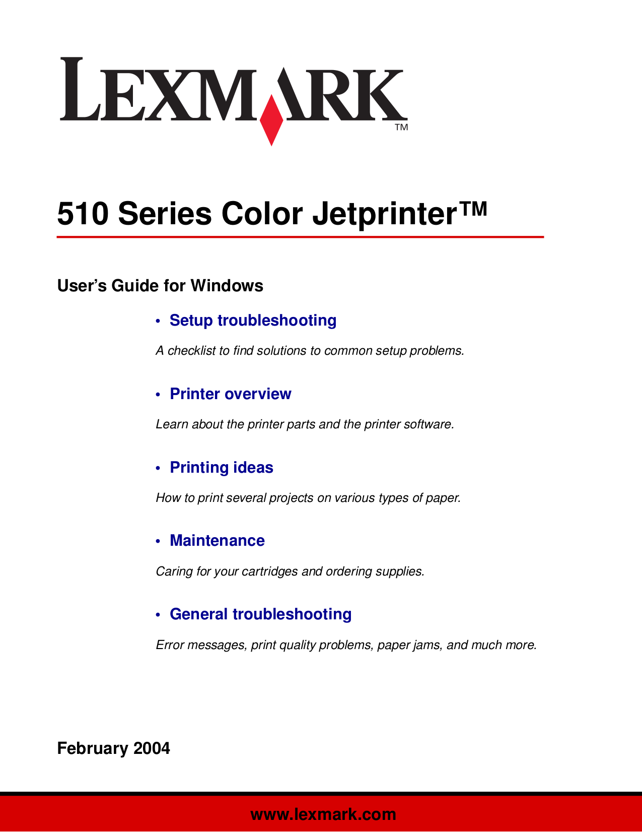 pdf for Lexmark Printer Z515 manual