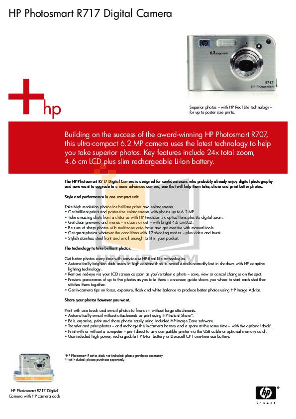 pdf for HP Digital Camera Photosmart R717 manual