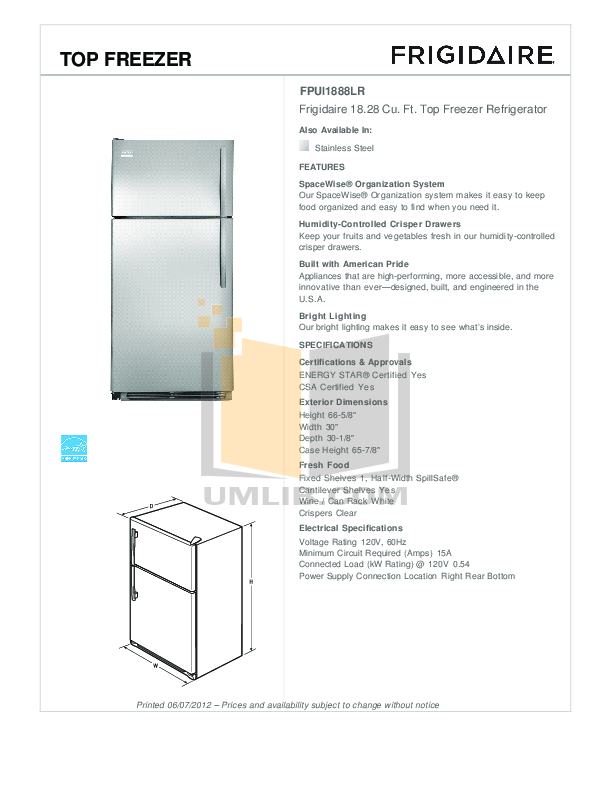 pdf for Frigidaire Refrigerator FFTR2126LS manual