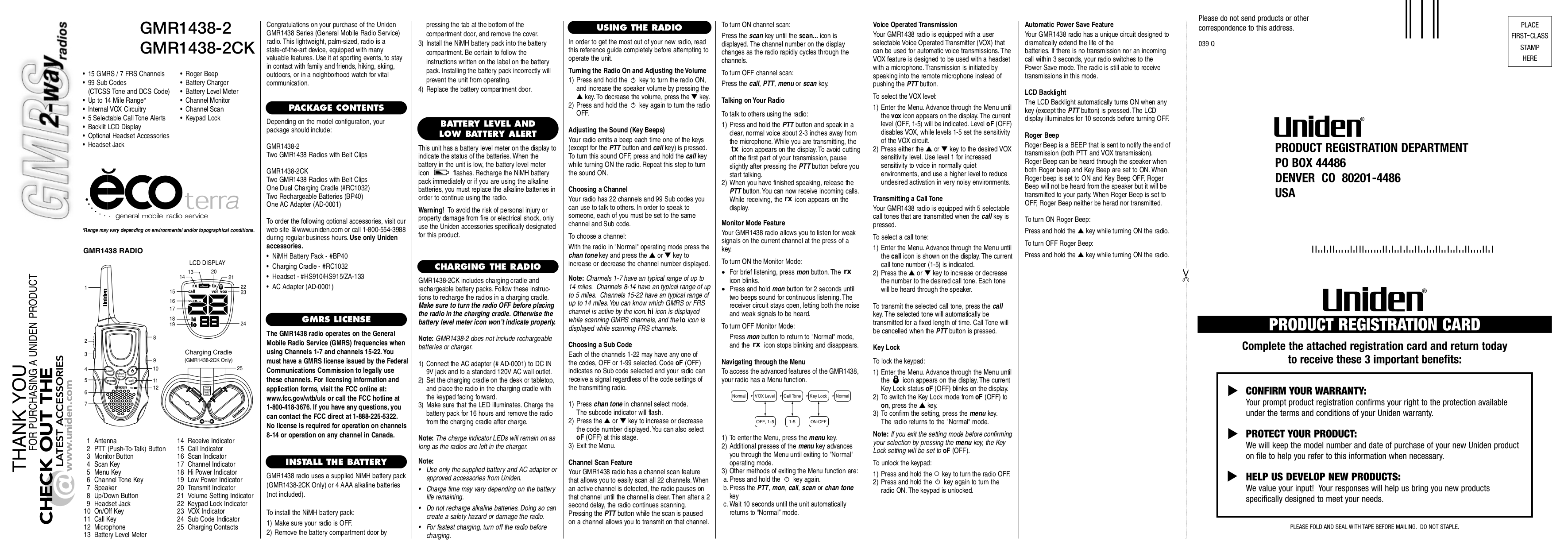 pdf for Uniden 2-way Radio GMR1438-2CK manual