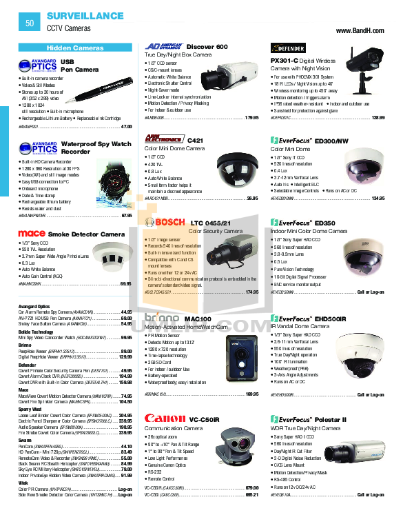 pdf for EverFocus Security Camera ED350 manual