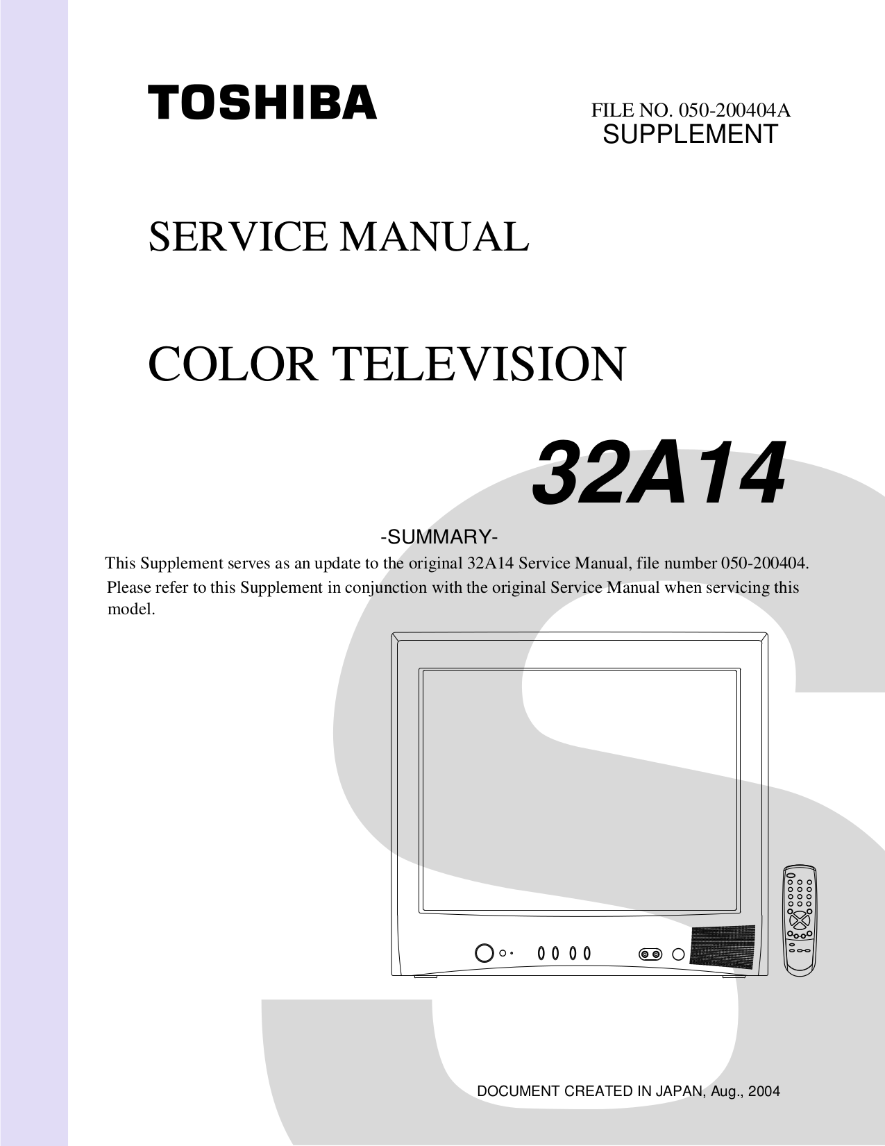 Toshiba 32a14 Color Tv Service Manual Download | Wiring Library