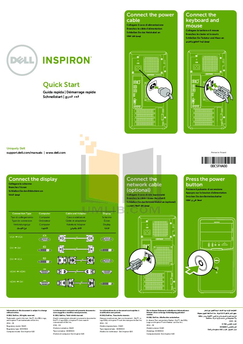 download free pdf for dell inspiron 620 desktop manual rh umlib com Dell Inspiron 620 Motherboard Dell Inspiron 620 USB Diagram