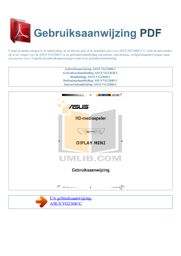 pdf for Asus Monitor VG236H manual