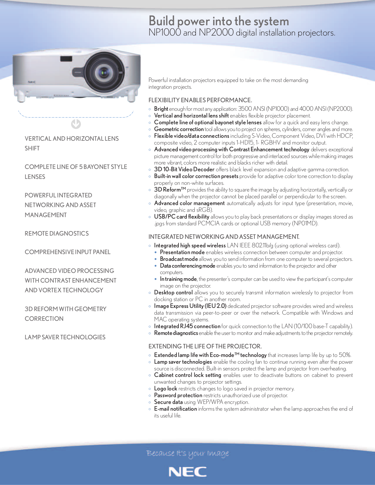 pdf for NEC Projector NP1000 manual