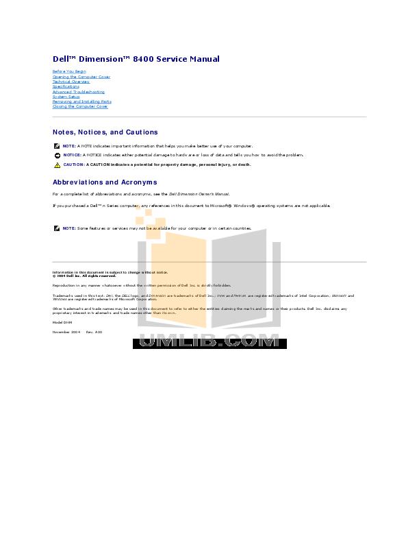 pdf manual for dell desktop dimension 8400 rh umlib com 2004 Dell Dimension 8400 Dell 8400 Audio Driver