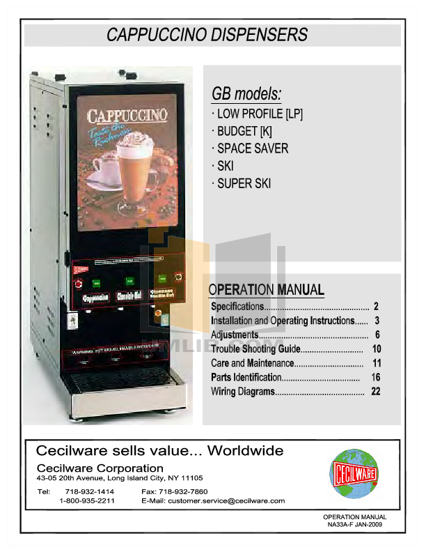 pdf for Cecilware Other 5K-GB-LD Dispensers manual