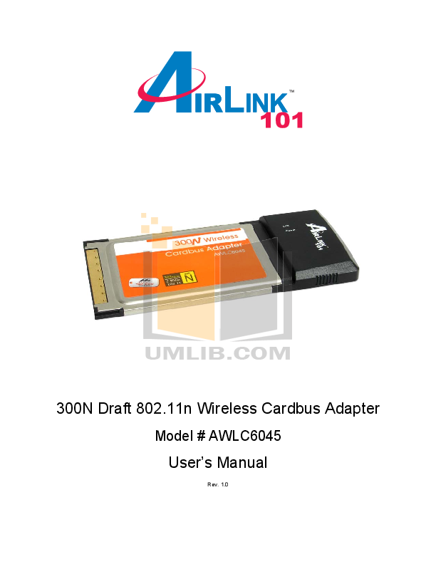 pdf for Airlink Other AWLC6045 Adapters manual