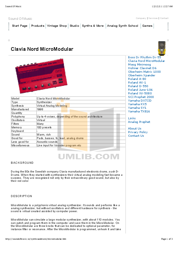 pdf for Clavia Music Keyboard Nord Modular V3 manual