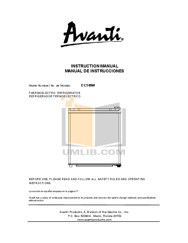 pdf for Avanti Refrigerator EC149W manual