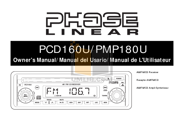 pdf for Audiovox Car Receiver PCD160U manual