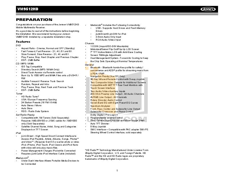 Audiovox Car Receiver VM9512 pdf page preview