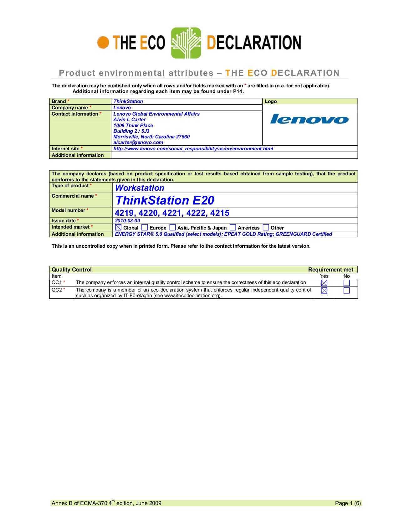 pdf for Lenovo Desktop ThinkStation E20 4219 manual