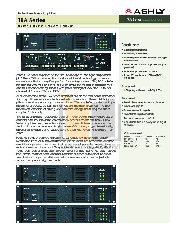 pdf for Ashly Amp SRA-4075 manual