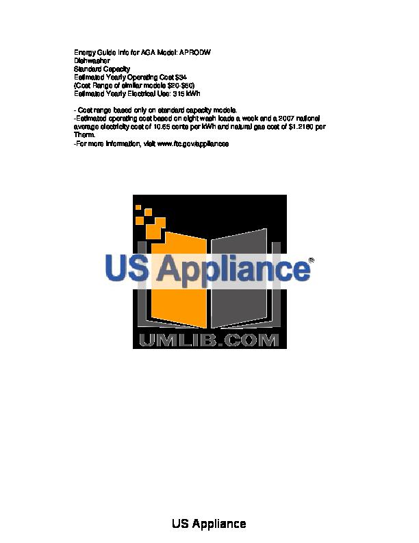 pdf for AGA Dishwasher APRODW manual