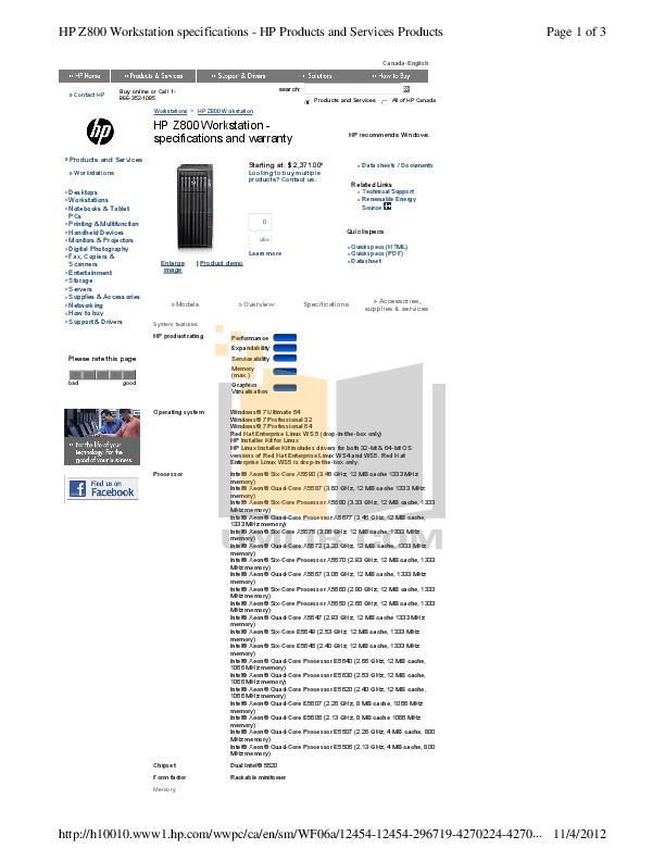 Download free pdf for HP Workstation Z800 Desktop manual