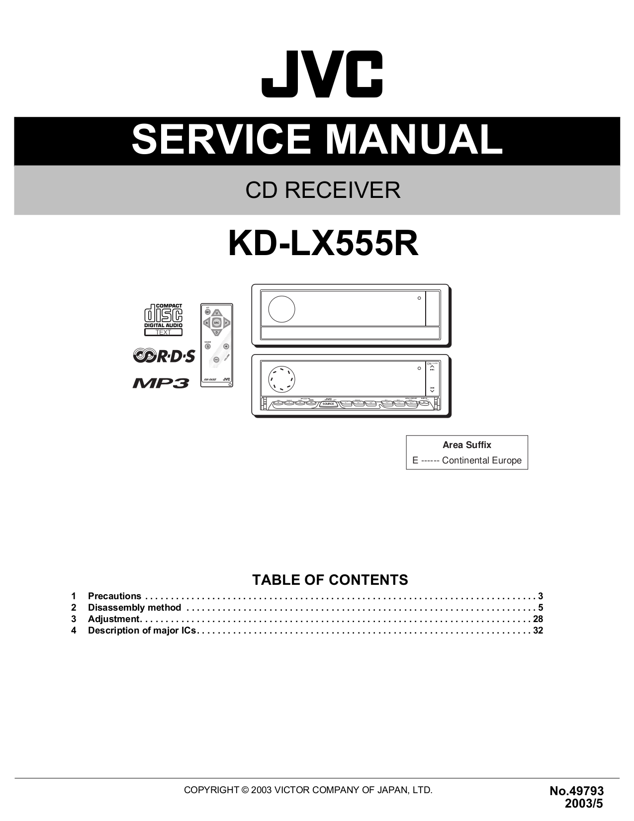 Download free pdf for jvc kd-s641 car receiver manual.