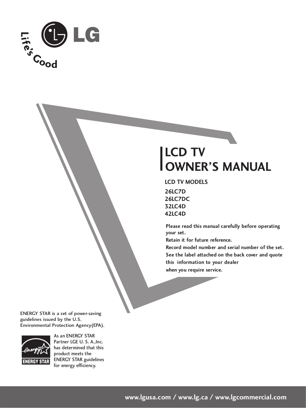 pdf for LG TV 42LC4D manual