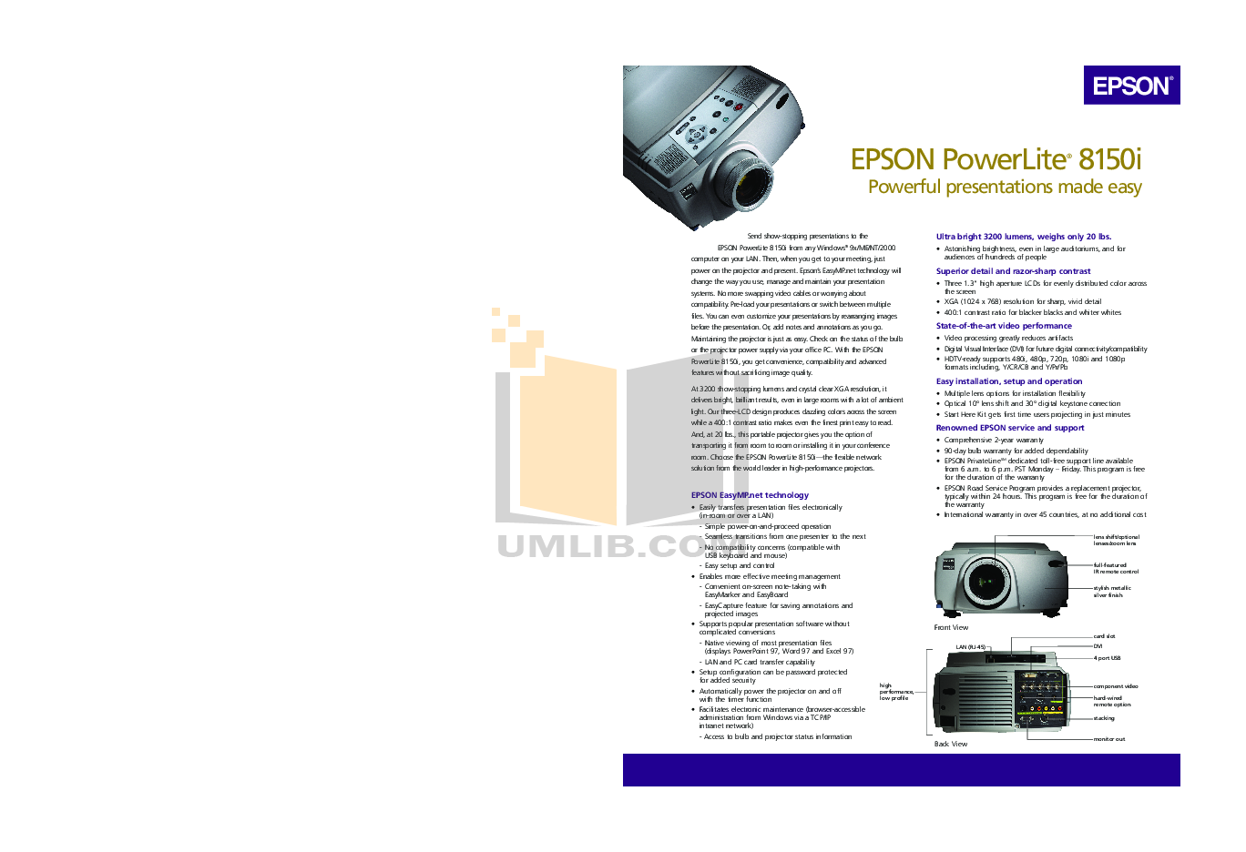 pdf for Epson Projector EMP-8150 manual