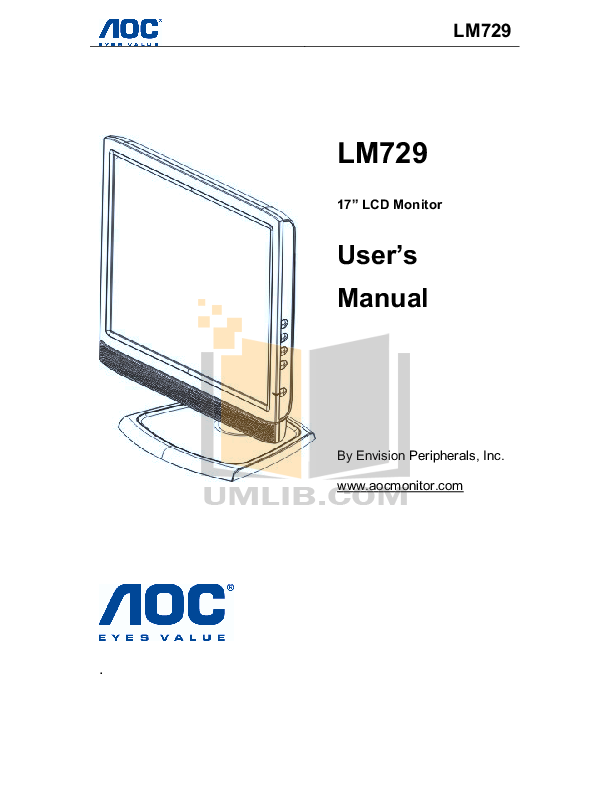 pdf for AOC Monitor LM729 manual