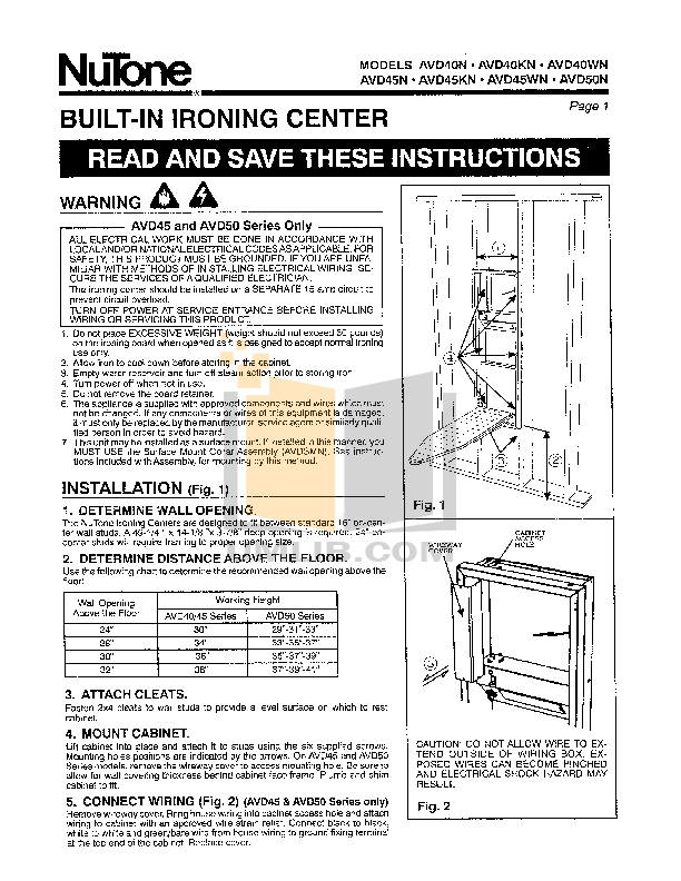 pdf for Broan-NuTone Other AVD45WN Ironing Centers manual