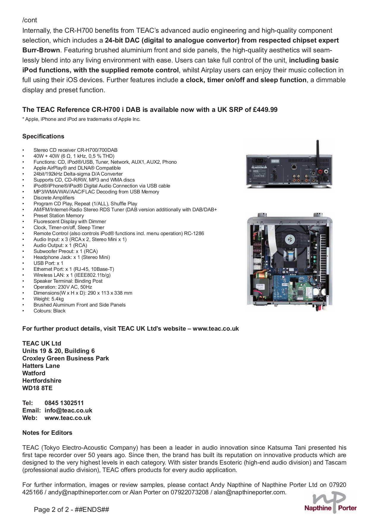 PDF manual for Teac Receiver CR-H500