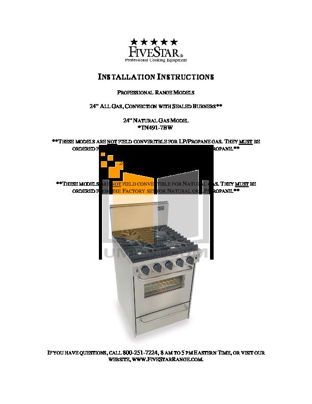 pdf for FiveStar Range TTN491-7BW manual