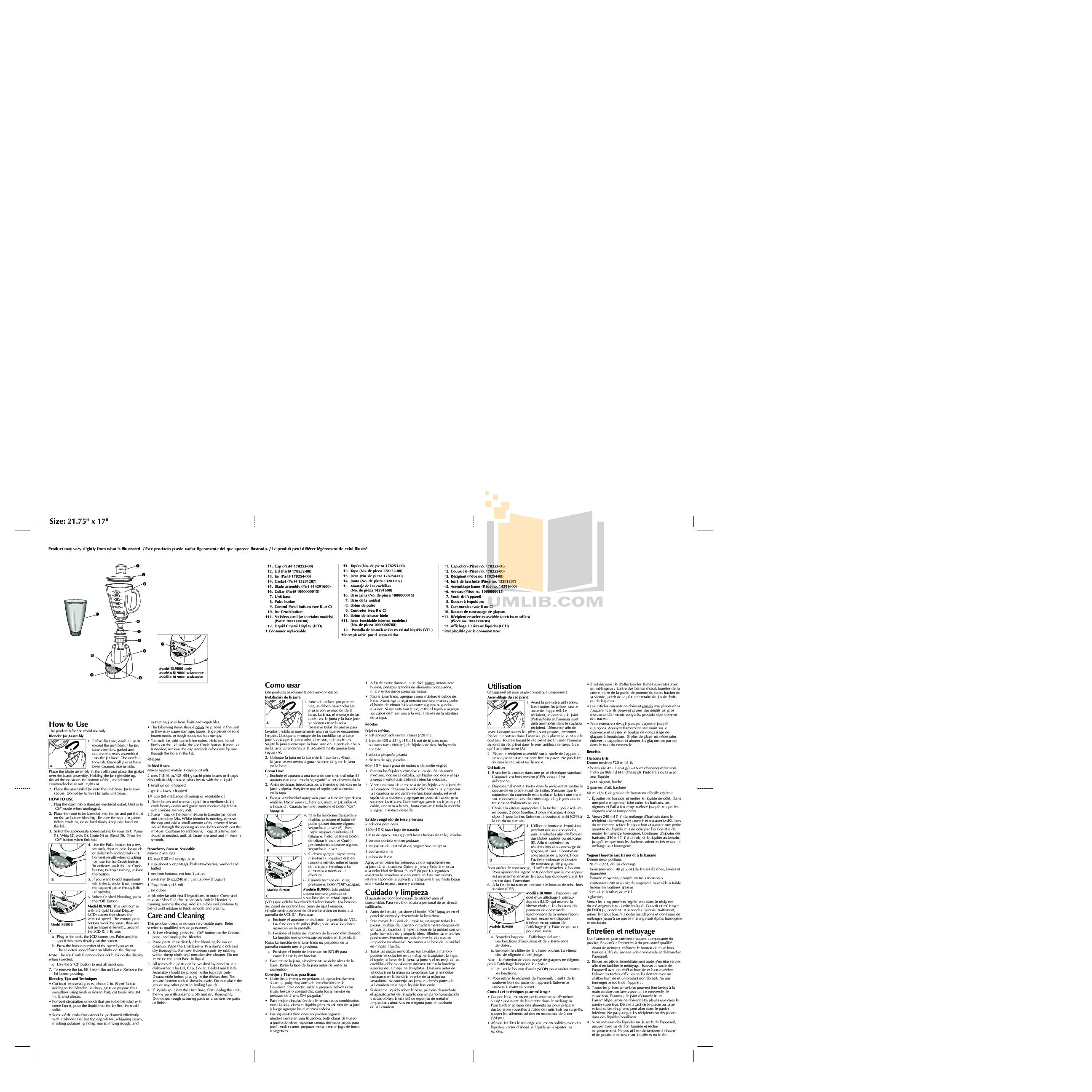 pdf for BlackAndDecker Blender BL1900 manual