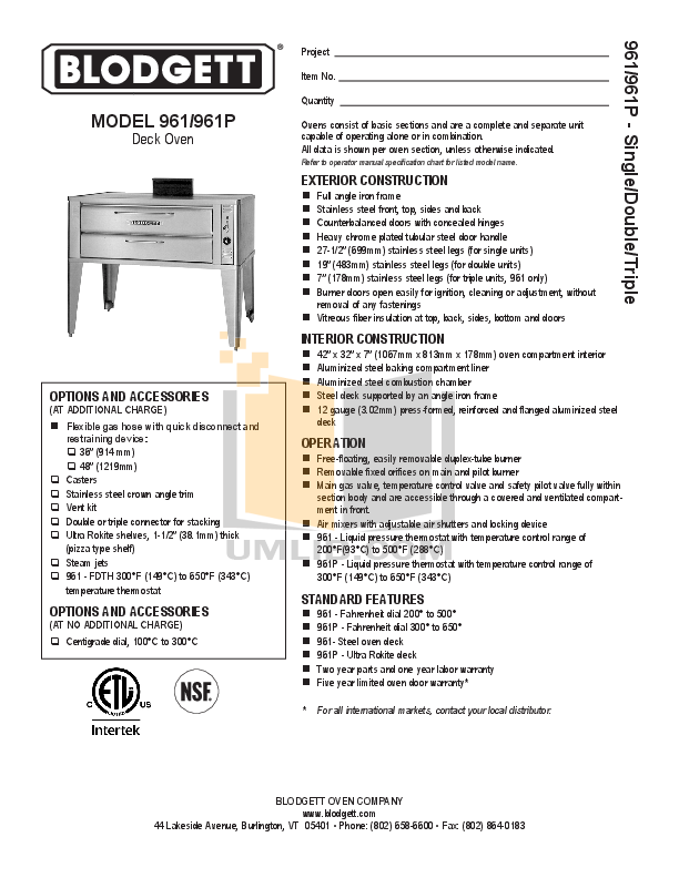 pdf for Blodgett Oven 961P DOUBLE manual