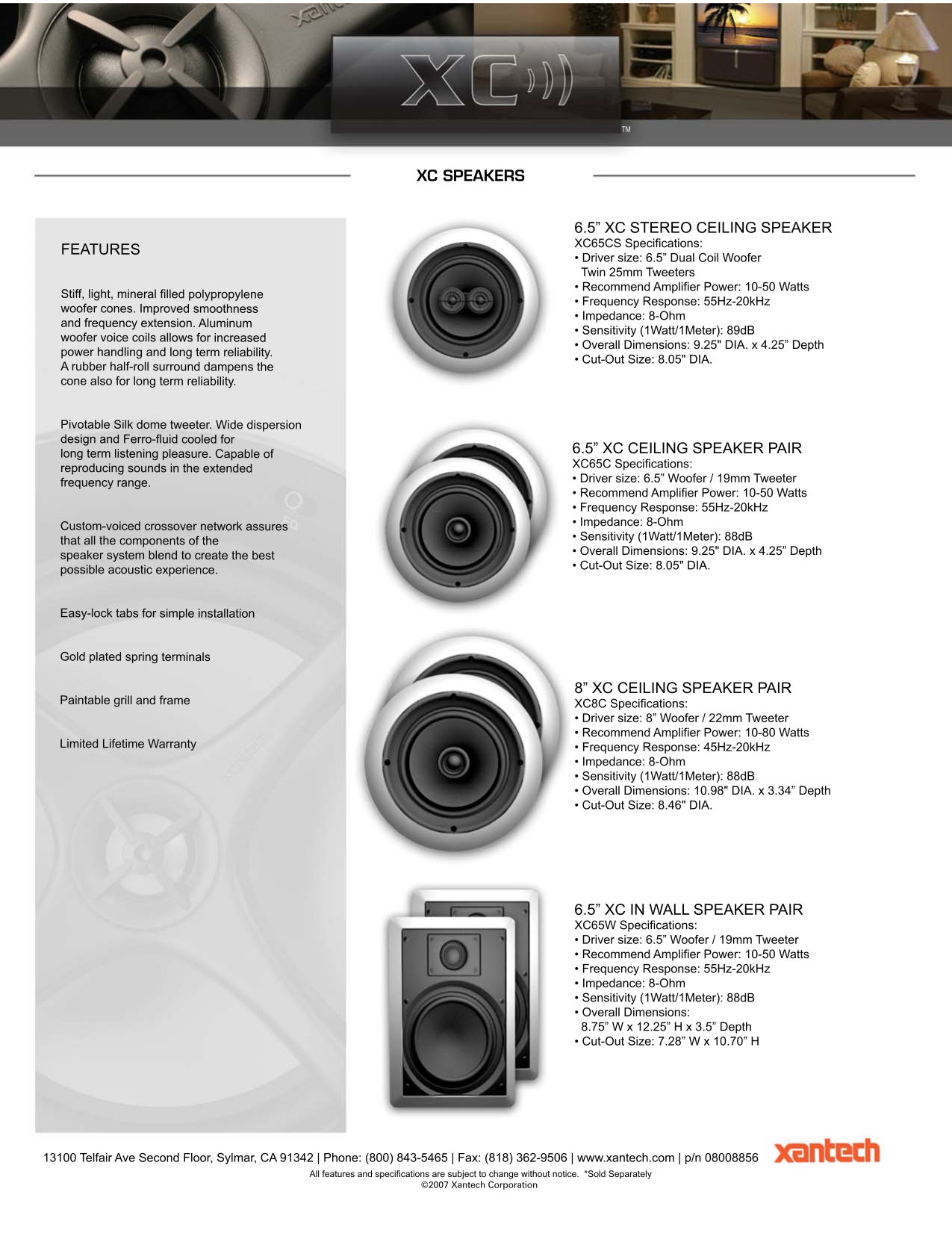 pdf for Xantech Speaker XC65W manual