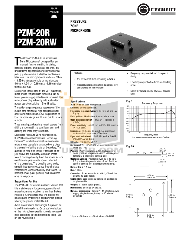 pdf for Crown Other PZM-20RW Microphones manual