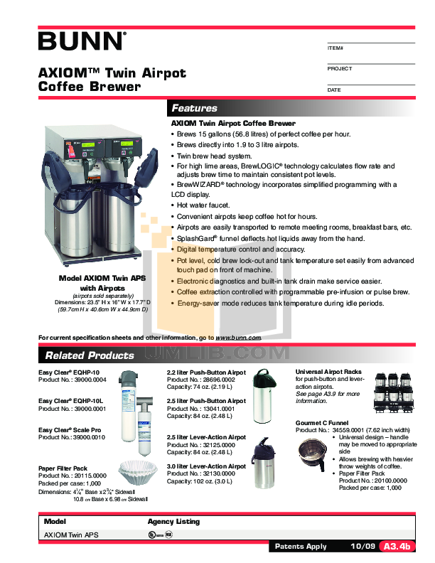 Bunn Coffee Maker User Guide : Download free pdf for Bunn CDBC TWIN APS Coffee Maker manual