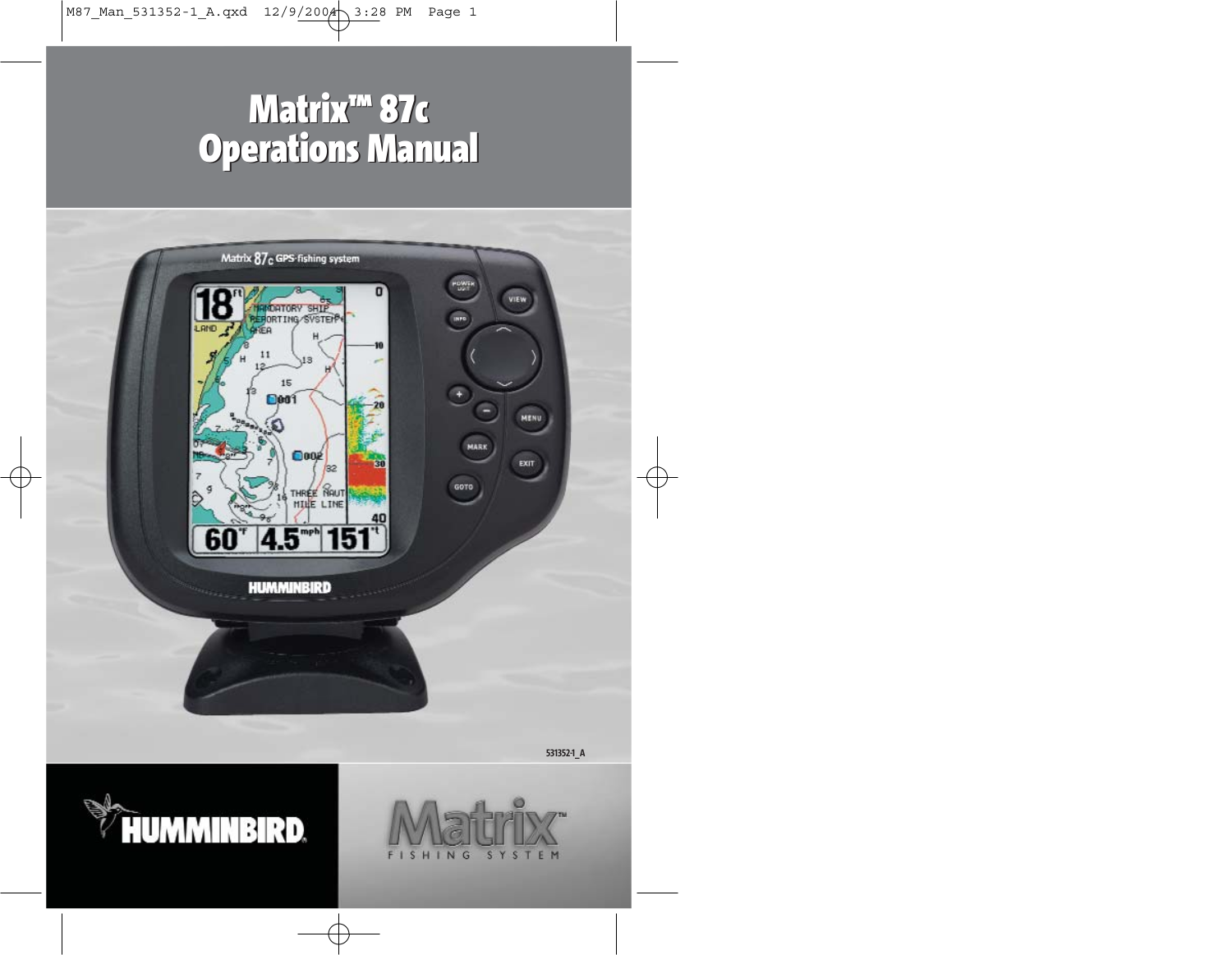 pdf for Humminbird GPS Matrix 87 manual