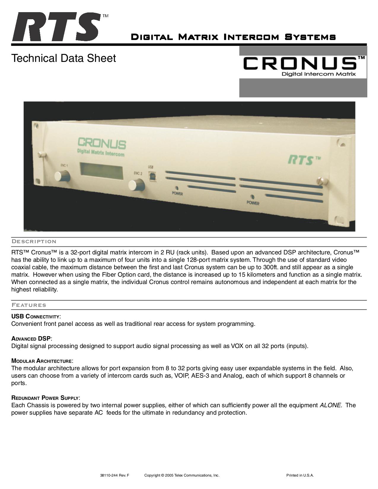 pdf for Telex Other XCP-32-DB9 IntercomSystem manual