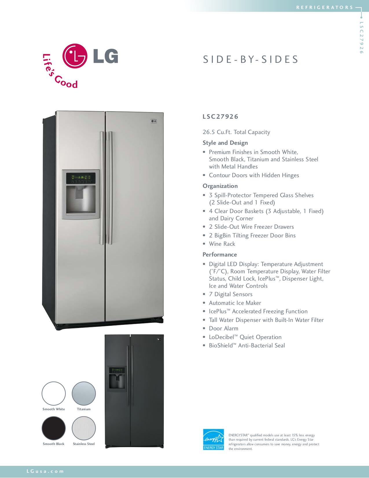 pdf for LG Refrigerator LSC27926 manual