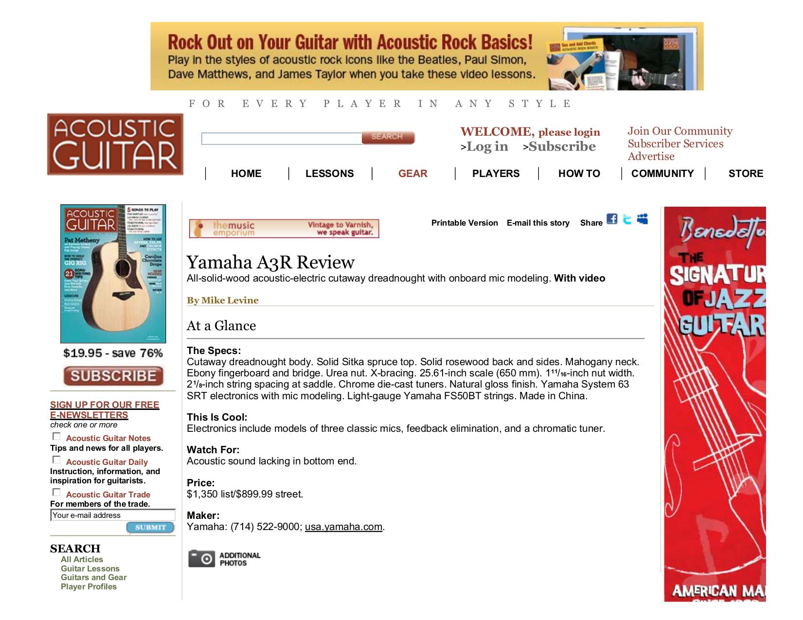 pdf for Yamaha Guitar A3R manual
