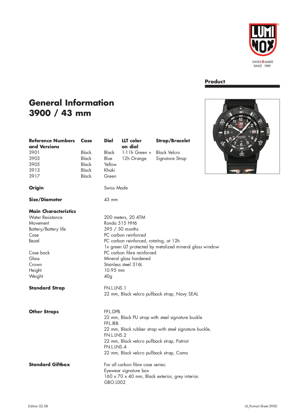 pdf for Luminox Watch Navy SEAL 3903 manual