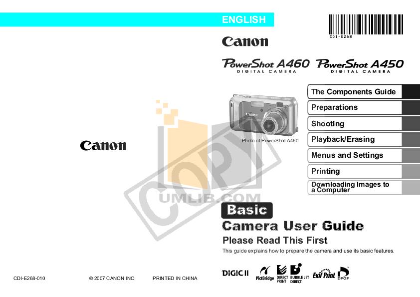 pdf for Canon Digital Camera Powershot A450 manual