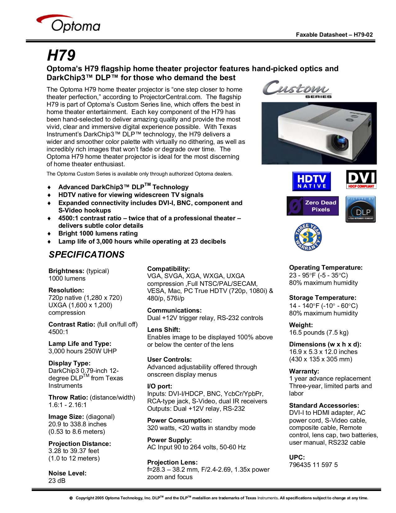 pdf for Optoma Projector H79 manual