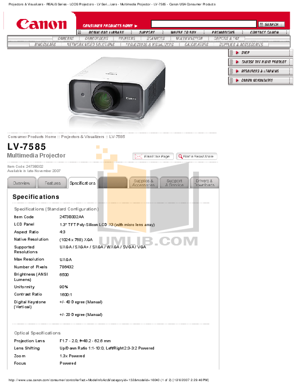 pdf for Canon Projector LV-7585 manual