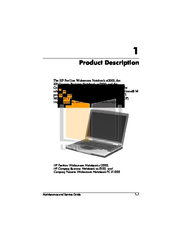 HP Laptop Compaq Presario,Presario X1091 pdf page preview