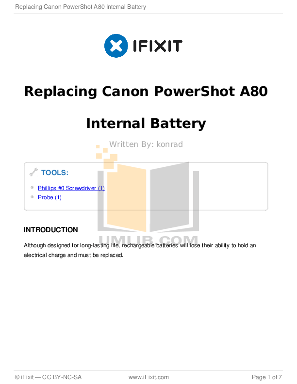 pdf for Canon Digital Camera Powershot A80 manual