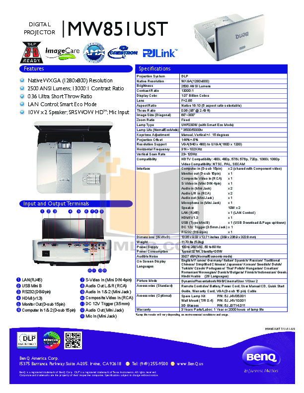 pdf for Benq Projector MW851UST manual
